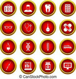 Medicine icon red circle set