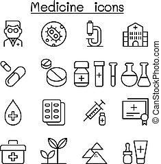 Medicine icon set in thin line style