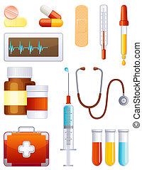 Medicine icon set - Medicale equipment icon set