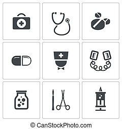 Medicine icons collection - Medicine icon set on a white...