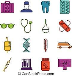 Medicine icons doodle set