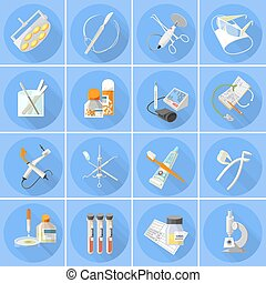 Medicine icons set  flat