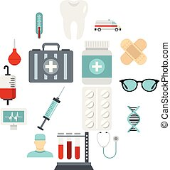 Medicine icons set, flat style