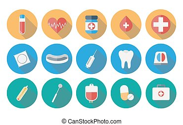 Medicine icons set in flat design with long shadow illustration