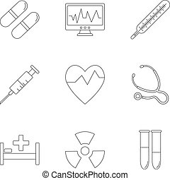 Medicine icons set, outline style