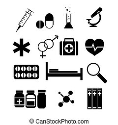 Medicine icons set. Vector