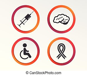 Medicine icons. Syringe, disabled, brain.
