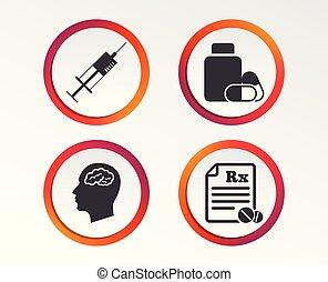 Medicine icons. Tablets bottle, brain, Rx. - Medicine icons....
