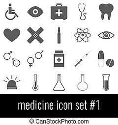medicine., ikon, sæt, 1., gråne, iconerne, på hvide, baggrund.