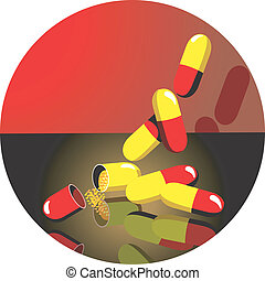 Medicine - Illustration of capsules in red and black...