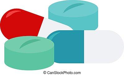 Medicine, illustration, vector on white background.