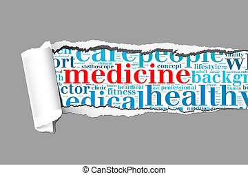 Medicine info-text graphics and arrangement concept  (word cloud) on paper torn.