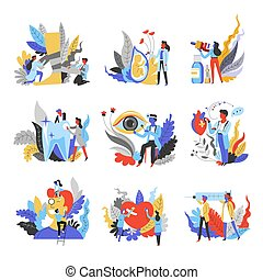 Medicine isolated abstract icons doctors and medical equipment