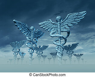 Medicine landscape with giant Caduceus sculptures as a symbol of the future of health care and medical treatment with confusion and difficult decisions ahead.