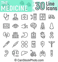 Medicine line icon set, hospital symbols collection, vector sketches, logo illustrations, anatomy signs linear pictograms package isolated on white background, eps 10.