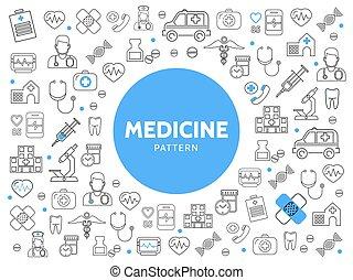 Medicine Line Icons Pattern