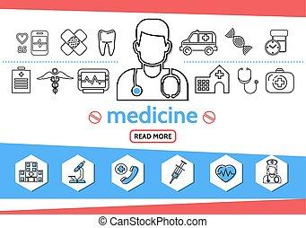 Medicine Line Icons Set