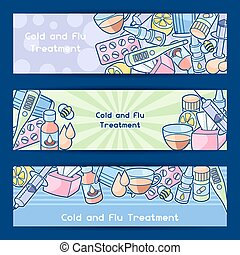 medicine, medico, influenza, trattamento, objects., freddo, bandiere