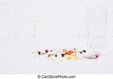Medicine on brick background