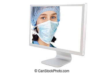 Medicine on line a over white background