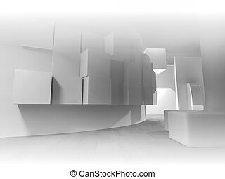 medicine, open space, clean room with shapes in 3d, business space and work