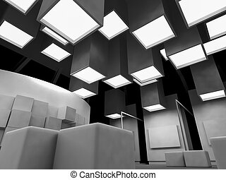 medicine, open space, clean room with shapes in 3d, business...