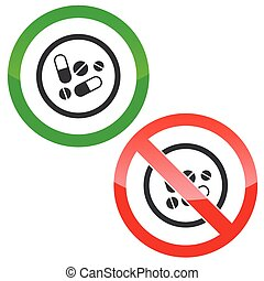 Medicine permission signs - Allowed and forbidden signs with...