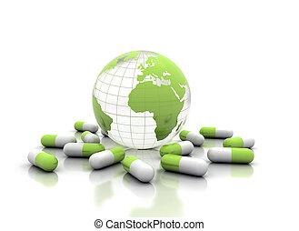 Medicine pills and world globe isolated on white