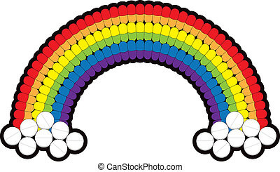Medicine Pills Arranged In A Rainbow - Medicine capsules and...
