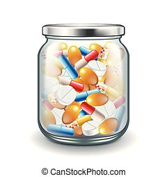 Medicine pills in glass jar isolated on white vector