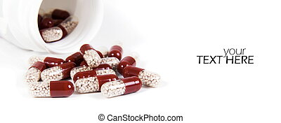 Medicine pills with the copy space