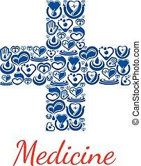 Medicine poster of cross symbol vector hearts