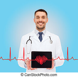 smiling male doctor with tablet pc