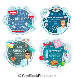 Medicine round icons of doctors and medical tools