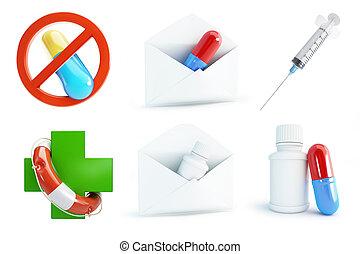 medicine set on a white background 3D illustration