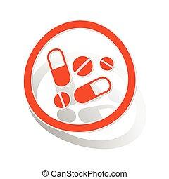 Medicine sign sticker, orange