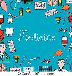 Medicine sketch background with medical symbols