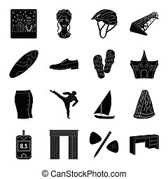 medicine, sport, wedding and other web icon in black style....