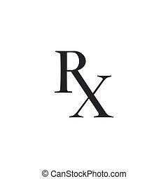 Medicine symbol Rx prescription icon isolated. Flat design. Vector Illustration