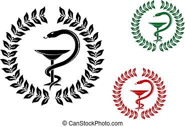 Medicine symbol - snake on cup in laurel wreath