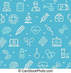 Medicine Symbols and Signs Pattern Background on a Blue. Vector