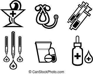 Medicine symbols - Set of medicine equipment and symbols...