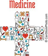 Medicine symbols in a shape of medical cross