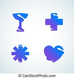Medicine Symbols Negative Space Snake. Abstract Vector Signs, Emblems, Icons or Logo Template Set. Modern Gradient.