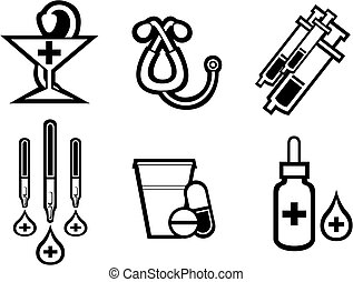 Set of medicine equipment and symbols isolated on white