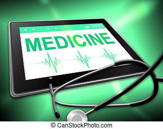 Medicine Tablet Indicates Medication Online 3d Illustration