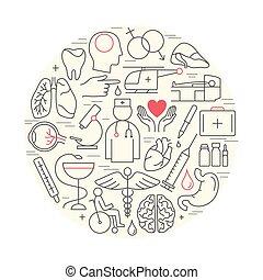 medicine., thème, mince, linéaire, moderne, concept