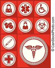 Medicine vector icon set, hospital, doctor, nurse, wheelchair, drugs and other medical symbols in eps 10.