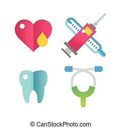 Medicine vector icons set.