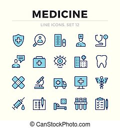 Medicine vector line icons set. Thin line design. Modern outline graphic elements, simple stroke symbols. Medical icons